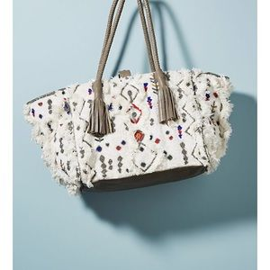 Anthro Ibban Beaded Chenille Bag